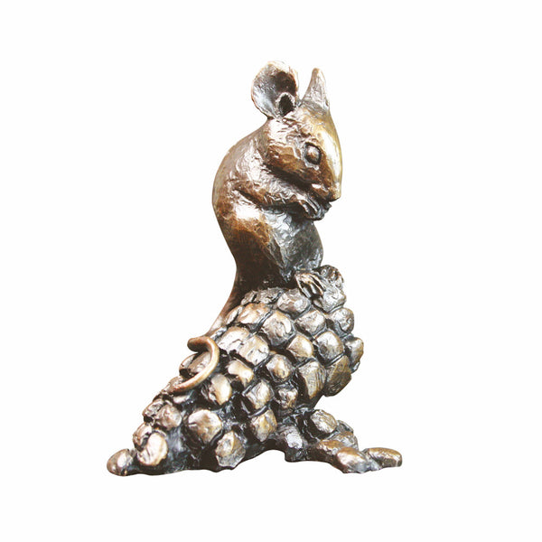 Solid Bronze Sculpture Mouse With Corn Michael Simpson Limited Edition of 200 - bronzebarngallery.com