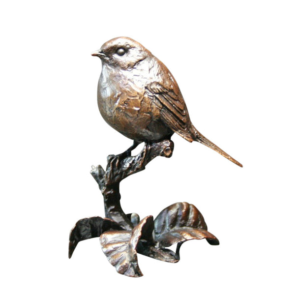 Limited Edition of 250 Hot Cast Solid Bronze Sculpture Small Robin - bronzebarngallery.com