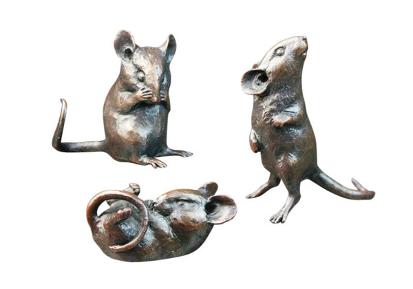 Solid Bronze Michael Simpson Three Little Mice Limited Edition 350 - bronzebarngallery.com