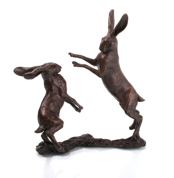 Solid Bronze Small Hares Boxing Sculpture Michael Simpson Limited Edition of 350 - bronzebarngallery.com