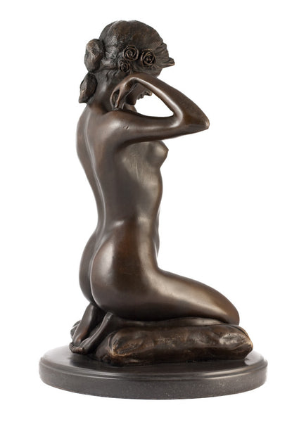 Solid Bronze Figure of a woman kneeling putting on a necklace 'New Necklace' Paul Ponsard - bronzebarngallery.com