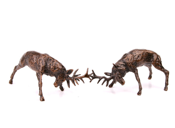 Butler & Peach Detailed Small Solid Bronze Rutting Stags - bronzebarngallery.com