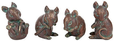 Setof 4 Bronze Resin mice playing - bronzebarngallery.com