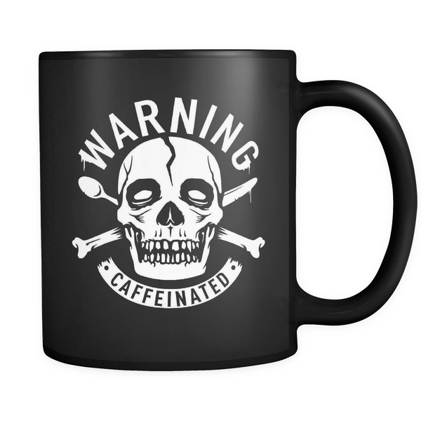 Warning Caffeinated Black Coffee Mug, 11 oz