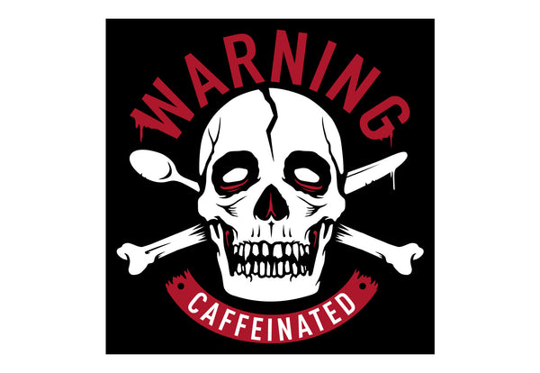 Warning Caffeinated Tee Front Print Men`s