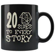 20 Sides To Every Story Mug - Funny Twenty Sided Dice D20 D1 Critical Hit DND RPG Coffee Cup - Luxurious Inspirations