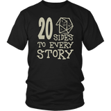 20 Sides To Every Story T-Shirt - Funny Twenty Sided Dice D20 D1 Critical Hit DND RPG Tee Shirt - Luxurious Inspirations