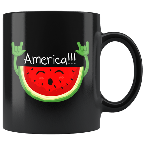 America Rock N Roll Watermelon Mug - Funny Summer Music Rocking And Rocking Coffee Cup - Luxurious Inspirations