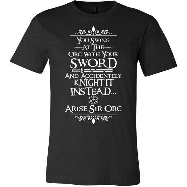 Arise Sir Orc DND Shirt - Funny Dragons From Caves And Dungeons Tee T-shirt teelaunch Canvas Mens Shirt Black S