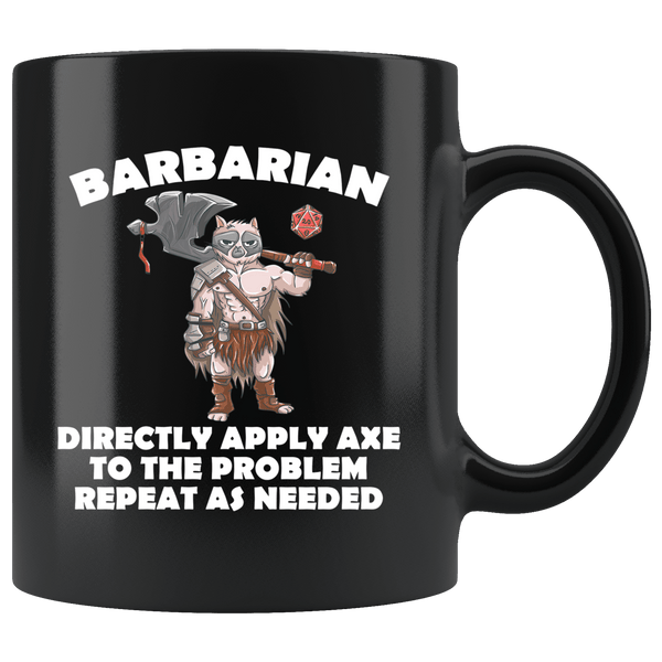Barbarian Cat Black Mug - Funny Class DND D&D Dungeons And Dragons Coffee Cup Drinkware teelaunch black