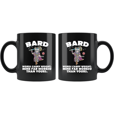 Bard Cat Black Mug - Funny Class DND D&D Dungeons And Dragons Coffee