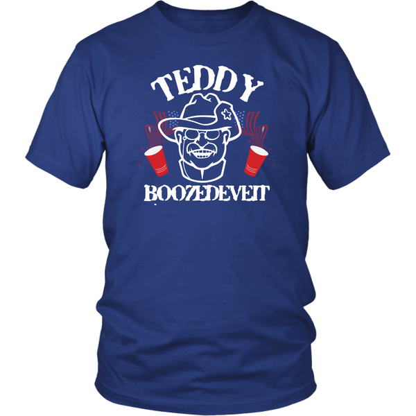 Teddy Boozedevelt Theodore Roosevelt Drinking T-Shirt - Funny July 4th Independence Day Pride Tee Shirt - Luxurious Inspirations