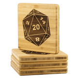 DND D20 Dice BAMBOO Wood Coaster Set of 4 - Critical Hit DM RPG Mug Cup Coasters - Luxurious Inspirations