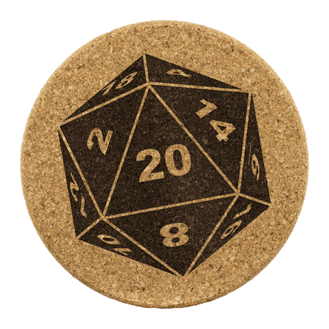 DND D20 Dice Coaster Set of 4 - Critical Hit DM RPG Mug Cup Coasters - Luxurious Inspirations