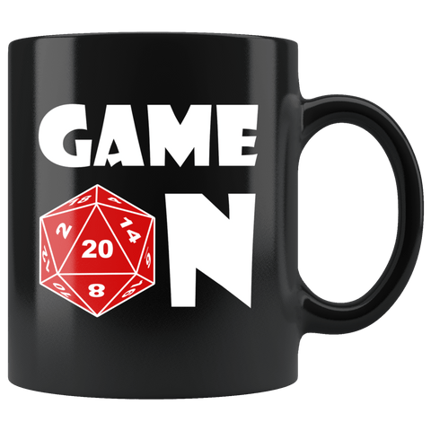 Game On Mug - Funny DND D20 Dice Critical Hit Roleplay Gaming Coffee Cup Drinkware teelaunch black