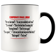 Corporate Email Lingo Funny Work E-Mail Coffee Cup Color Accent Mug - Luxurious Inspirations