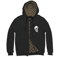 Custom Personalized Gothic Skull Pentagram Zipped Black Hoodie