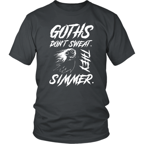 Goths Don't Sweat They Simmer T-Shirt - Funny Gothic Pentagram Dark Side Humor Tee Shirt - Luxurious Inspirations