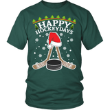 Happy Hockeydays Shirt - Funny Christmas Ugly Sweater Holidays Hockey Tee - Luxurious Inspirations