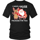 I Have A Huge Package For You Shirt - Funny Santa Claus Christmas Offensive Adult Tee T-shirt teelaunch District Unisex Shirt Black S