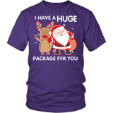 I Have A Huge Package For You Shirt - Funny Santa Claus Christmas Offensive Adult Tee T-shirt teelaunch District Unisex Shirt Purple S