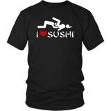 I Love Sushi Funny Sex Heart Offensive Vulgar Adult T-Shirt - Luxurious Inspirations