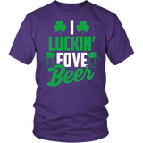I Luckin Fove Beer Shirt - Funny Patricks Day Irish Drinking Tee T-shirt teelaunch District Unisex Shirt Purple S