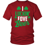 I Luckin Fove Beer Shirt - Funny Patricks Day Irish Drinking Tee T-shirt teelaunch District Unisex Shirt Red S