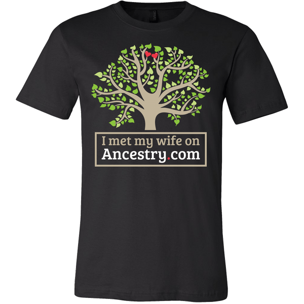 I Met My Wife On Ancestry.com Shirt - Funny Offensive Tee T-shirt teelaunch Canvas Mens Shirt Black S