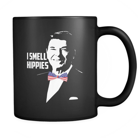 I Smell Hippies Mug | Funny Conservative USA Ronald Reagan 11oz Black Coffee Cup - Luxurious Inspirations
