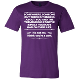 I Think You're A Cunt Shirt - Funny Offensive Tee T-shirt teelaunch Canvas Mens Shirt Team Purple S