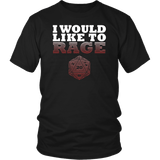 I Would Like To Rage Barbarian DND T-Shirt T-shirt teelaunch District Unisex Shirt Black S