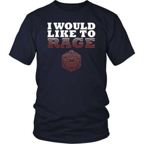 I Would Like To Rage Barbarian DND T-Shirt T-shirt teelaunch District Unisex Shirt Navy S