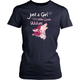 Just a Girl Who Loves Wolves Shirt - High Quality Cute Fitted Women Tee T-shirt teelaunch District Womens Shirt Navy XS