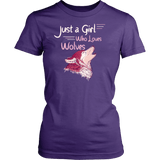 Just a Girl Who Loves Wolves Shirt - High Quality Cute Fitted Women Tee T-shirt teelaunch District Womens Shirt Purple XS