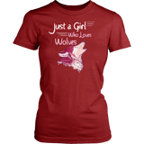 Just a Girl Who Loves Wolves Shirt - High Quality Cute Fitted Women Tee T-shirt teelaunch District Womens Shirt Red XS