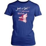 Just a Girl Who Loves Wolves Shirt - High Quality Cute Fitted Women Tee T-shirt teelaunch District Womens Shirt Royal Blue XS