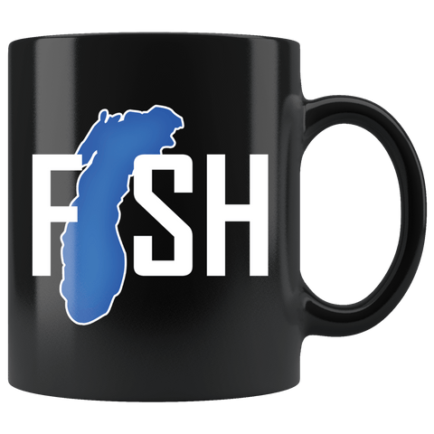 Lake Michigan Fisherman Mug - Clever Gift Fishing Fish Coffee Cup - Luxurious Inspirations