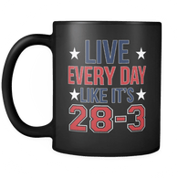 Live Everyday Like It's 28-3 Mug - Funny New England Patriots Tom Brady GOAT Coffee Cup Drinkware teelaunch