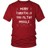 Merry Christmas You Filthy Muggle Shirt - Funny Xmas Adult Humor Offensive Crude Grey T-Shirt - Luxurious Inspirations