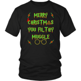 Merry Christmas You Filthy Muggle Shirt - Funny Xmas Adult Humor Offensive Crude T-Shirt T-shirt teelaunch District Unisex Shirt Black S
