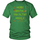 Merry Christmas You Filthy Muggle Shirt - Funny Xmas Adult Humor Offensive Crude T-Shirt T-shirt teelaunch District Unisex Shirt Kelly Green S