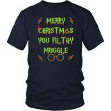 Merry Christmas You Filthy Muggle Shirt - Funny Xmas Adult Humor Offensive Crude T-Shirt T-shirt teelaunch District Unisex Shirt Navy S