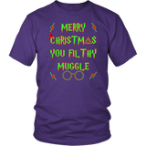 Merry Christmas You Filthy Muggle Shirt - Funny Xmas Adult Humor Offensive Crude T-Shirt T-shirt teelaunch District Unisex Shirt Purple S