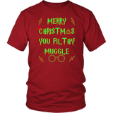 Merry Christmas You Filthy Muggle Shirt - Funny Xmas Adult Humor Offensive Crude T-Shirt T-shirt teelaunch District Unisex Shirt Red S