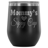 Mommy's Sippy Cup 12 oz White Stainless Steel Stemless Wine Tumbler - Funny Mother Mama Mom Christmas Birthday New Joke Lid Mug Wine Tumbler teelaunch Black