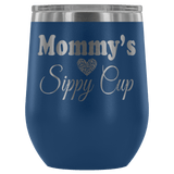 Mommy's Sippy Cup 12 oz White Stainless Steel Stemless Wine Tumbler - Funny Mother Mama Mom Christmas Birthday New Joke Lid Mug Wine Tumbler teelaunch Blue