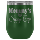 Mommy's Sippy Cup 12 oz White Stainless Steel Stemless Wine Tumbler - Funny Mother Mama Mom Christmas Birthday New Joke Lid Mug Wine Tumbler teelaunch Green