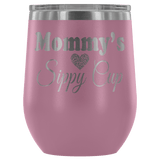 Mommy's Sippy Cup 12 oz White Stainless Steel Stemless Wine Tumbler - Funny Mother Mama Mom Christmas Birthday New Joke Lid Mug Wine Tumbler teelaunch Light Purple