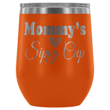 Mommy's Sippy Cup 12 oz White Stainless Steel Stemless Wine Tumbler - Funny Mother Mama Mom Christmas Birthday New Joke Lid Mug Wine Tumbler teelaunch Orange